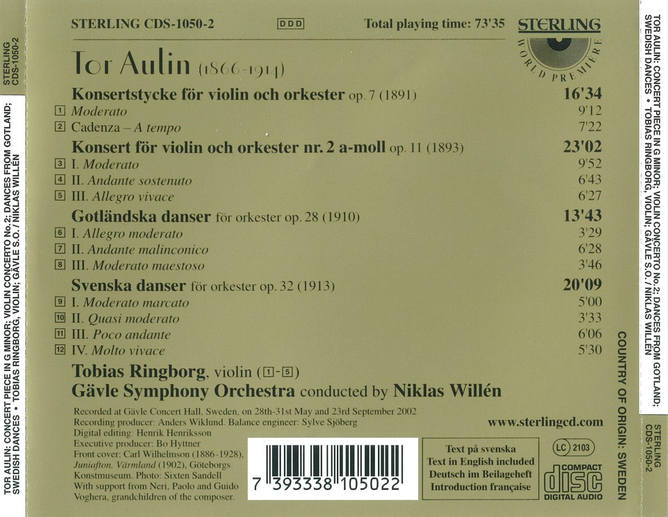 Aulin, Tor: Violin Concerto No  1 & 2 and other pieces